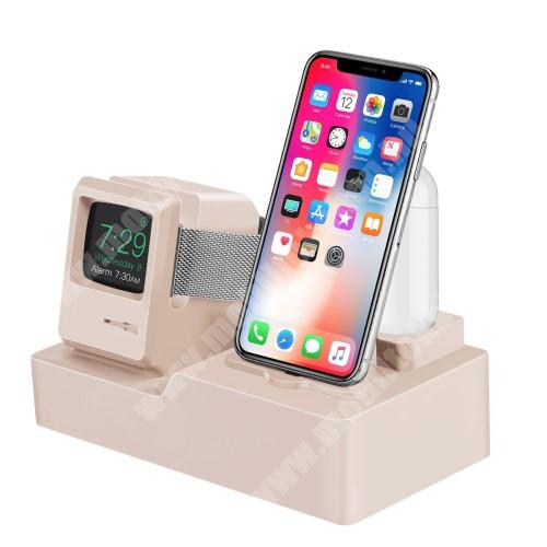 3 az 1-ben iPhone / Apple Watch / Airpods asztali töltő állvány / dokkoló - szilikon, kábelelvezető, a töltő NEM TARTOZÉK! - ARANY