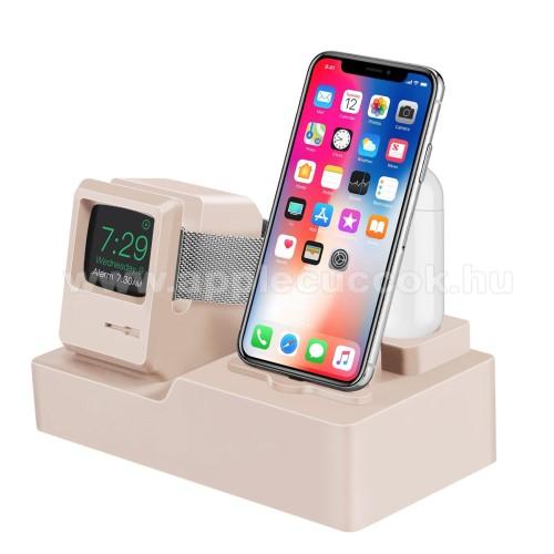APPLE Watch Series 6 44mm3 az 1-ben iPhone / Apple Watch / Airpods asztali töltő állvány / dokkoló - szilikon, kábelelvezető, a töltő NEM TARTOZÉK! - ARANY