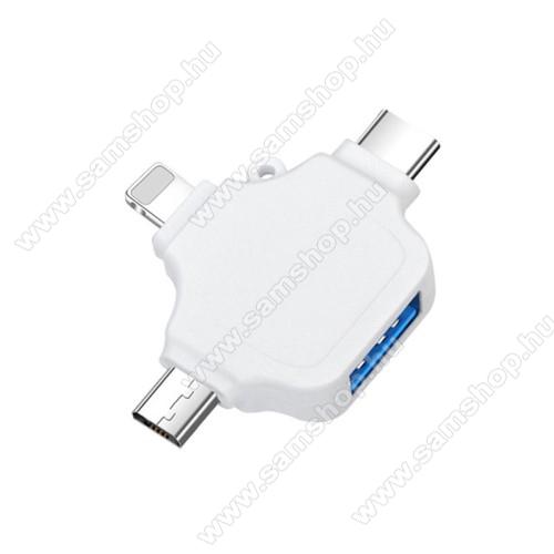 3 az 1-ben OTG adapter - Type-C,Lighting, microUSB, USB3.0 csatlakozó, OTG funkció - FEHÉR