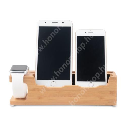 HUAWEI Honor V40 5G 3 az 1-ben Telefon asztali tartó és Apple Watch QI Wireless állvány töltő tartó kialakítással - csúszásgátló, Pencil tartó, bambuszfából készült, 220 x 65 x 60 mm, a töltő NEM TARTOZÉK! - BARNA