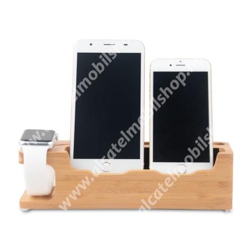 ALCATEL OT-208 3 az 1-ben Telefon asztali tartó és Apple Watch QI Wireless állvány töltő tartó kialakítással - csúszásgátló, Pencil tartó, bambuszfából készült, 220 x 65 x 60 mm, a töltő NEM TARTOZÉK! - BARNA