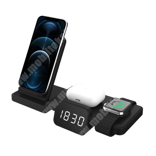 4 az 1-ben Apple Watch, Airpods és iPhone asztali tartó Qi Wireless asztali töltő funkcióval / digitális óra - 15W, gyorstöltés támogatás, állítható kijelző fényerő, az órába CR2032 elem szükséges NEM TARTOZÉK!, 220 x 150 x 100mm - FEKETE