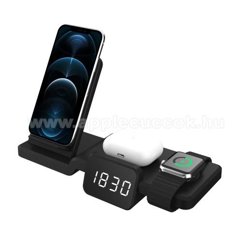 APPLE Watch Series 6 44mm4 az 1-ben Apple Watch, Airpods és iPhone asztali tartó Qi Wireless asztali töltő funkcióval / digitális óra - 15W, gyorstöltés támogatás, állítható kijelző fényerő, az órába CR2032 elem szükséges NEM TARTOZÉK!, 220 x 150 x 100mm - FEKETE