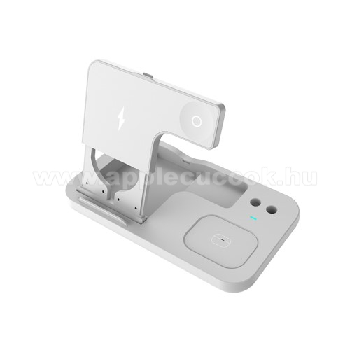 APPLE Watch Series 3 38mm4 az 1-ben Apple Watch, Airpods, iPhone és Apple Pencil asztali tartó Qi Wireless asztali töltő funkcióval - összecsukható, jelzőfény, 15W, gyors töltés támogatás - FEHÉR
