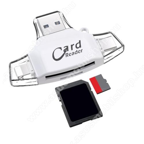 ASUS Zenfone 2 Laser (ZE500KL)4 az 1-ben memóriakártya olvasó - Type-C, Lighting, microUSB, USB csatlakozó, OTG funkció - FEHÉR