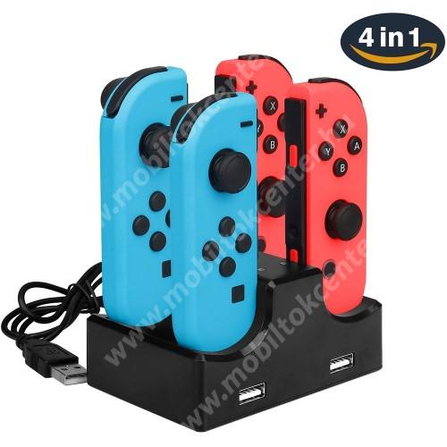 4 az 1-ben Nintendo Switch Joy-Con Joystick töltőállomás - egyszerre 4 Joy-Con vezérlő tölthető vele, külön LED-jelzők, 2x extra USB kimenet - FEKETE