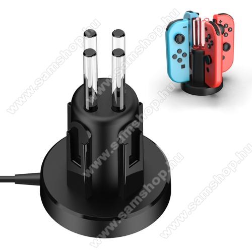 4 az 1-ben Nintendo Switch Joy-Con Joystick töltőállomás - egyszerre 4 Joy-Con vezérlő tölthető vele, külön LED-jelzők, csúszásgátló, 107,3 x 71 x 71 mm - FEKETE