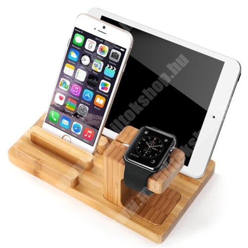 HomTom H17 Pro 4 az 1-ben Telefon / tablet / tolltartó állvány és Apple Watch töltőállomás / asztali tartó - csúszásgátló, Apple Pencil tartó, bambuszfából készült, 185 x 110 x 78mm, a töltő NEM TARTOZÉK! - BARNA