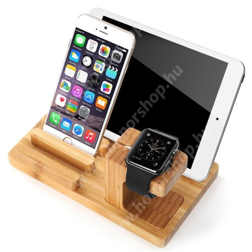 HUAWEI Honor V40 5G 4 az 1-ben Telefon / tablet / tolltartó állvány és Apple Watch töltőállomás / asztali tartó - csúszásgátló, Apple Pencil tartó, bambuszfából készült, 185 x 110 x 78mm, a töltő NEM TARTOZÉK! - BARNA