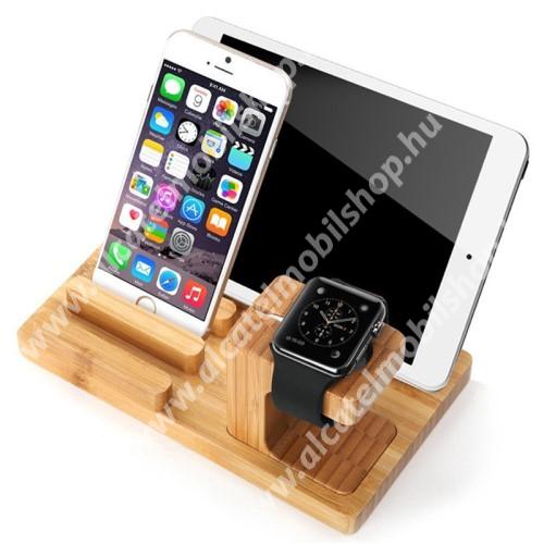 ALCATEL OT-208 4 az 1-ben Telefon / tablet / tolltartó állvány és Apple Watch töltőállomás / asztali tartó - csúszásgátló, Apple Pencil tartó, bambuszfából készült, 185 x 110 x 78mm, a töltő NEM TARTOZÉK! - BARNA