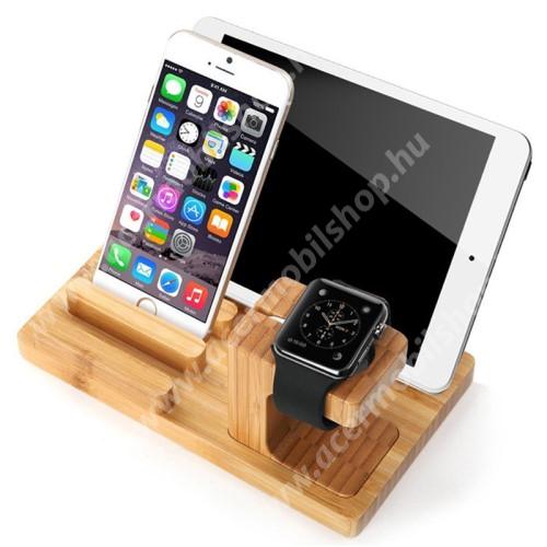 ACER Liquid Z3 4 az 1-ben Telefon / tablet / tolltartó állvány és Apple Watch töltőállomás / asztali tartó - csúszásgátló, Apple Pencil tartó, bambuszfából készült, 185 x 110 x 78mm, a töltő NEM TARTOZÉK! - BARNA
