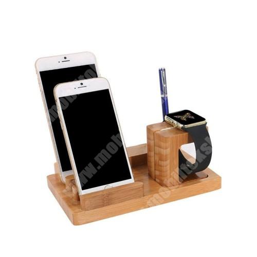 HomTom H17 Pro 4 az 1-ben Telefon / tablet / tolltartó állvány és Apple Watch töltőállomás / asztali tartó - 4x USB aljzat, csúszásgátló, Apple Pencil tartó, bambuszfából készült, 185 x 110 x 80mm, a töltő NEM TARTOZÉK! - BARNA