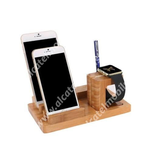 ALCATEL OT-208 4 az 1-ben Telefon / tablet / tolltartó állvány és Apple Watch töltőállomás / asztali tartó - 4x USB aljzat, csúszásgátló, Apple Pencil tartó, bambuszfából készült, 185 x 110 x 80mm, a töltő NEM TARTOZÉK! - BARNA
