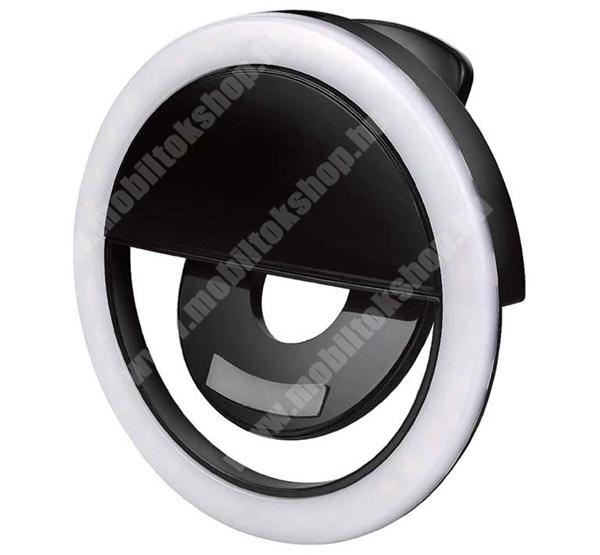 4-OK szelfi lámpa - kör alakú, LED fény, 85 mm átmérőjű, 3W, telefonra helyezhető, csipeszes rögzítésű - FEKETE - ARLCL1 - GYÁRI