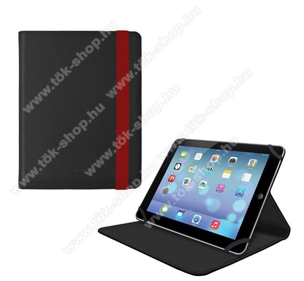 4-OK UNIVERZÁLIS notesz / mappa tok - oldalra nyíló, asztali tartó funkcióval, gumi rögzítés - FEKETE / PIROS - 10