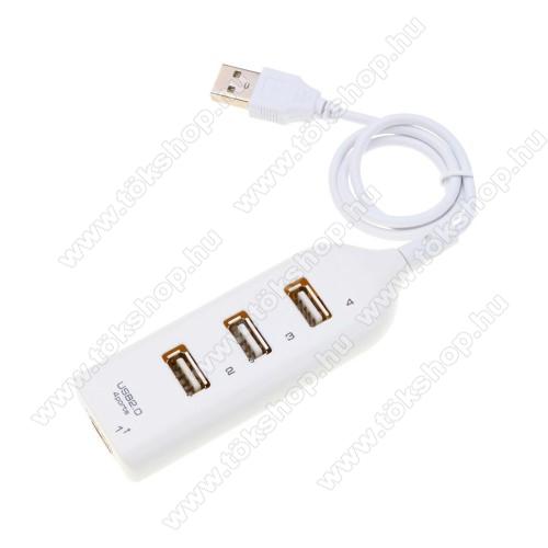 4 portos USB 2.0 hub / elosztó - 480Mbps, 100 x 35 x 18mm - FEHÉR