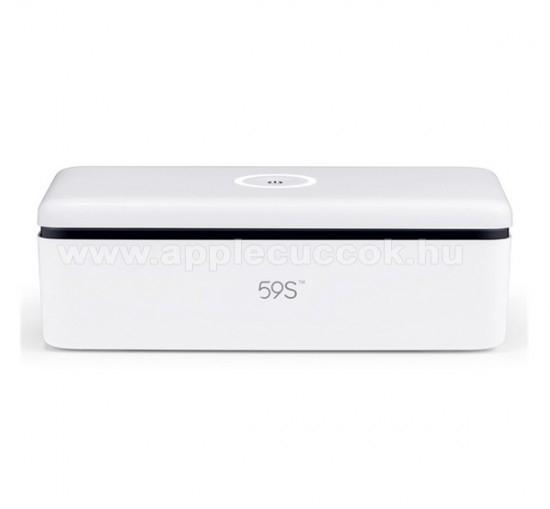 59S S2 UNIVERZÁLIS UVC mobiltelefon sterilizátor / fertőtlenítő - akár 99,9% -os sterilizálás, Type-C hálózati adapterrel, 8db LED, 3 perces gyors sterilizálás, 216 x 105 x 70mm, maximum 6,5