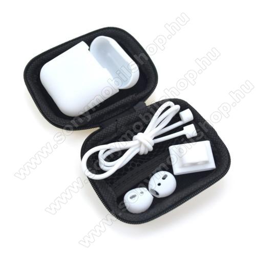 5 az 1-ben hordozható cipzáras tok, szilikon védő tok, fülgumi, órára rögzíthető tartó, nyakpánt  Apple AirPods-hoz - FEHÉR