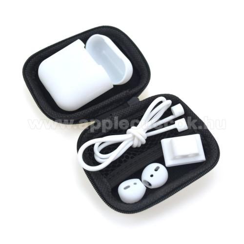 APPLE IPhone 5S5 az 1-ben hordozható cipzáras tok, szilikon védő tok, fülgumi, órára rögzíthető tartó, nyakpánt  Apple AirPods-hoz - FEHÉR