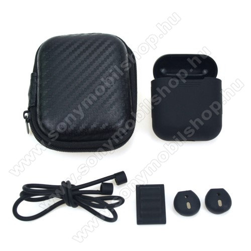 5 az 1-ben hordozható cipzáras tok, szilikon védő tok, fülgumi, órára rögzíthető tartó, nyakpánt  Apple AirPods-hoz - FEKETE