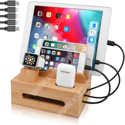 HomTom H17 Pro 5 az 1-ben Telefon / tablet / Airpods állvány és Apple Watch töltőállomás / asztali tartó / tároló - csúszásgátló, egyszerre 5 eszköz helyezhető rá, bambuszfából készült, a töltők NEM TARTOZÉKOK! - BARNA