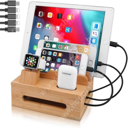HUAWEI Honor V40 5G 5 az 1-ben Telefon / tablet / Airpods állvány és Apple Watch töltőállomás / asztali tartó / tároló - csúszásgátló, egyszerre 5 eszköz helyezhető rá, bambuszfából készült, a töltők NEM TARTOZÉKOK! - BARNA