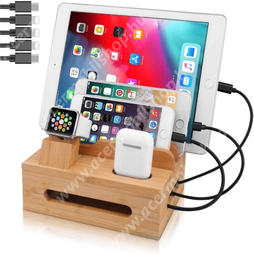 ACER Liquid Z3 5 az 1-ben Telefon / tablet / Airpods állvány és Apple Watch töltőállomás / asztali tartó / tároló - csúszásgátló, egyszerre 5 eszköz helyezhető rá, bambuszfából készült, a töltők NEM TARTOZÉKOK! - BARNA