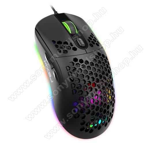 6 GOMBOS EGÉR - RGB LED, sötétben világít, programozható, állítható DPI 800-1600-2400-3200-4800-8000, 103g, 125 x 65 x 37 mm, USB csatlakozás - FEKETE