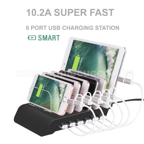 6 USB portos asztali t�lt? �llv�ny - 6 k�sz�l�k egyidej? t�lt�se �s t�rol�sa - 5V 10.2A Max (3x2.4A, 3x1.0A) - FEKETE
