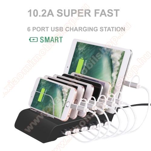 6 USB portos asztali töltő állvány - 6 készülék egyidejű töltése és tárolása - 5V 10.2A Max (3x2.4A, 3x1.0A) - FEKETE