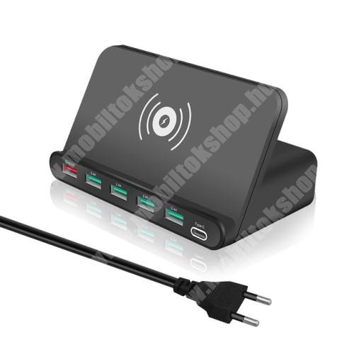 PRESTIGIO MultiPhone 5300 Duo 7 az 1-ben QI Wireless hálózati töltő állomás vezeték nélküli töltéshez / Asztali töltő állomás - Qi töltő kimenet 5W, fogadóegység nélkül!, 1x USB QC3.0 port 5V/3A, 9V/2A, 12V/1,5A, 4x USB port 5V/2A + 1x Type-C port 5V/3A, 10W (max) - FEKETE