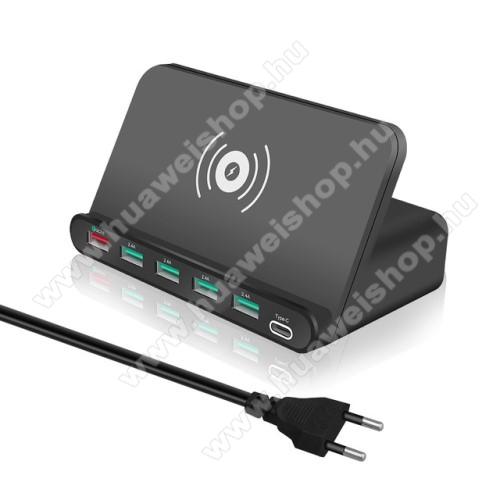 HUAWEI Honor Pad 2 8.07 az 1-ben QI Wireless hálózati töltő állomás vezeték nélküli töltéshez / Asztali töltő állomás - Qi töltő kimenet 5W, fogadóegység nélkül!, 1x USB QC3.0 port 5V/3A, 9V/2A, 12V/1,5A, 4x USB port 5V/2A + 1x Type-C port 5V/3A, 10W (max) - FEKETE
