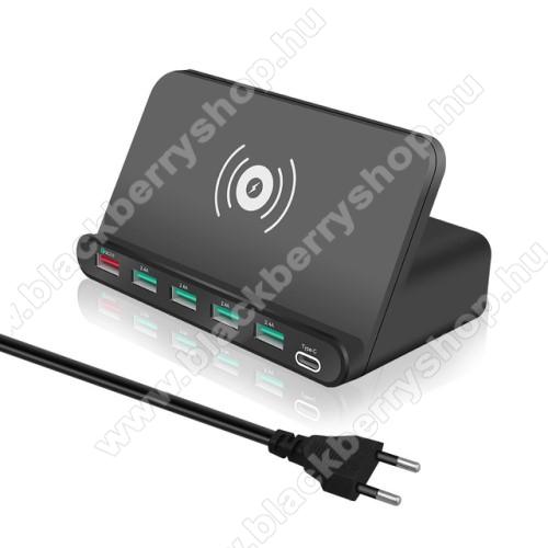 7 az 1-ben QI Wireless hálózati töltő állomás vezeték nélküli töltéshez / Asztali töltő állomás - Qi töltő kimenet 5W, fogadóegység nélkül!, 1x USB QC3.0 port 5V/3A, 9V/2A, 12V/1,5A, 4x USB port 5V/2A + 1x Type-C port 5V/3A, 10W (max) - FEKETE