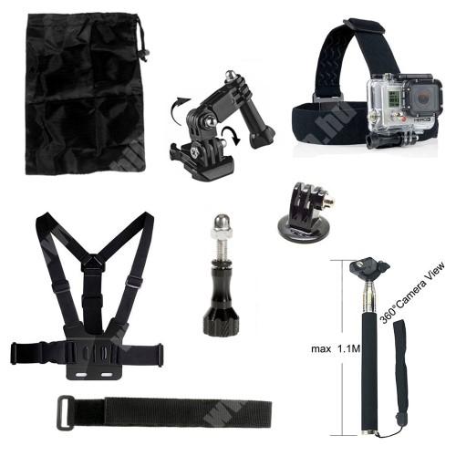 8 az 1-ben GoPro Hero 4/3+/3/2/1-hez 1x fejpánt, 1x mellkasra rögzíthető pánt, 1x háromirányú állítható forgókar, 1x állványra szerelhető adapter, 1x csuklópánt, 1x Monopod, 1x hosszú rögíztő csavar, 1x táska 20 x 14 cm - FEKETE
