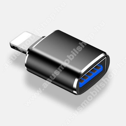 Adapter kábel - USB / pendrive csatlakoztatásához, OTG - Lightning / USB mama, Az IOS 13 támogatja a fájlok átvitelét! Az IOS 9.2-12 csak fotókat és videók olvasására alkalmas, adatátvitelre NEM! - FEKETE