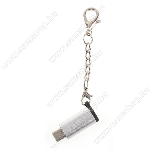 SAMSUNG Galaxy C8 (2017)Adapter USB 3.1 Type C-t microUSB 2.0-ra alakítja át - kulcstartóra szerelhető, alumínium, adatátvitelre is képes, 29 x 11 mm - EZÜST