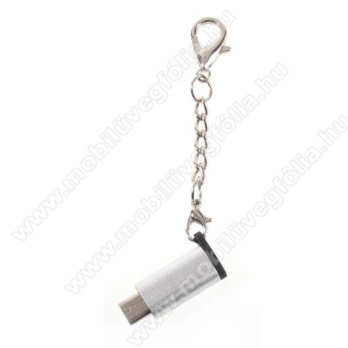 HUAWEI Enjoy 9eAdapter USB 3.1 Type C-t microUSB 2.0-ra alakítja át - kulcstartóra szerelhető, alumínium, adatátvitelre is képes, 29 x 11 mm - EZÜST