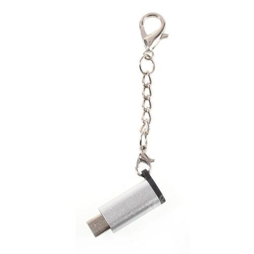 ACER Iconia Tab A3-A20 Adapter USB 3.1 Type C-t microUSB 2.0-ra alakítja át - kulcstartóra szerelhető, alumínium, adatátvitelre is képes, 29 x 11 mm - EZÜST