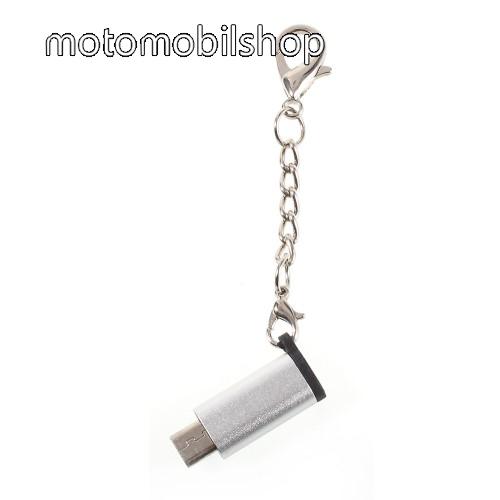 MOTOROLA XT701 Adapter USB 3.1 Type C-t microUSB 2.0-ra alakítja át - kulcstartóra szerelhető, alumínium, adatátvitelre is képes, 29 x 11 mm - EZÜST