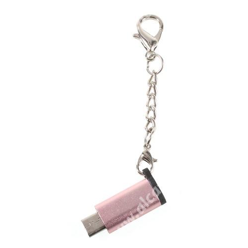Alcatel OT-810D Adapter USB 3.1 Type C-t microUSB 2.0-ra alakítja át - kulcstartóra szerelhető, alumínium, adatátvitelre is képes, 29 x 11 mm - ROSE GOLD