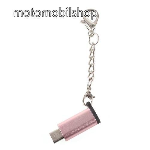 MOTOROLA Fire (XT311) Adapter USB 3.1 Type C-t microUSB 2.0-ra alakítja át - kulcstartóra szerelhető, alumínium, adatátvitelre is képes, 29 x 11 mm - ROSE GOLD