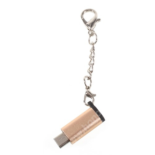 HUAWEI Honor 3C Play Adapter USB 3.1 Type C-t microUSB 2.0-ra alakítja át - kulcstartóra szerelhető, alumínium, adatátvitelre is képes, 29 x 11 mm - ARANY