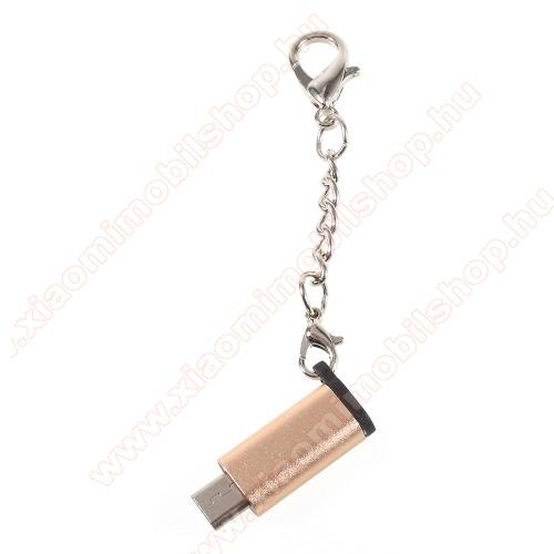 Xiaomi MI Note ProAdapter USB 3.1 Type C-t microUSB 2.0-ra alakítja át - kulcstartóra szerelhető, alumínium, adatátvitelre is képes, 29 x 11 mm - ARANY