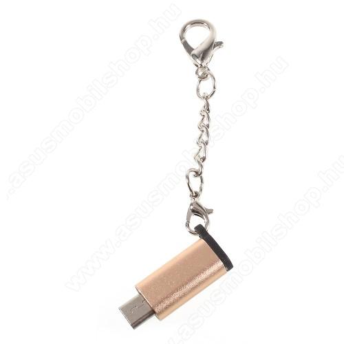 ASUS Transformer Pad TF303CLAdapter USB 3.1 Type C-t microUSB 2.0-ra alakítja át - kulcstartóra szerelhető, alumínium, adatátvitelre is képes, 29 x 11 mm - ARANY