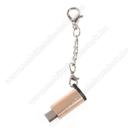 Adapter USB 3.1 Type C-t microUSB 2.0-ra alakítja át - kulcstartóra szerelhető, alumínium, adatátvitelre is képes, 29 x 11 mm - ARANY