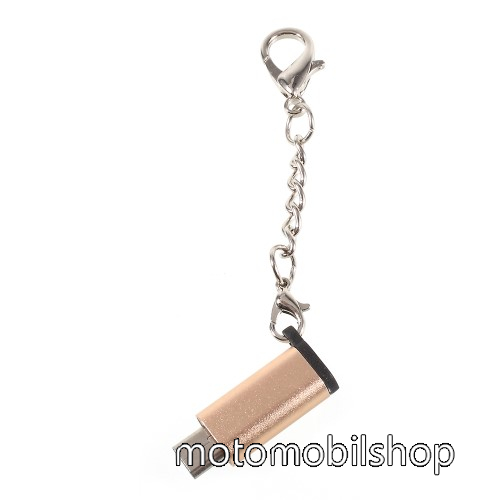 MOTOROLA Fire (XT311) Adapter USB 3.1 Type C-t microUSB 2.0-ra alakítja át - kulcstartóra szerelhető, alumínium, adatátvitelre is képes, 29 x 11 mm - ARANY