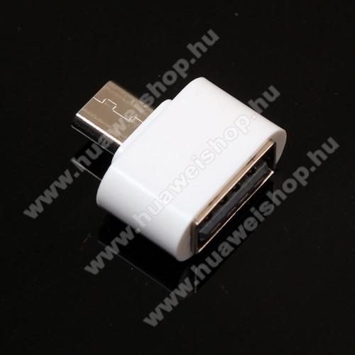 Huawei Ascend Mate 2Adapter - USB/pendrive csatlakoztatásához - OTG / microUSB - FEHÉR - SUPERMINI!