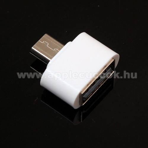 Adapter - USB/pendrive csatlakoztat�s�hoz - OTG / microUSB - FEH�R - SUPERMINI!