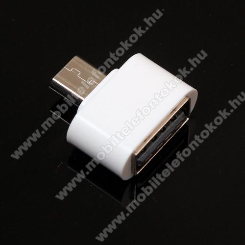 Adapter - USB/pendrive csatlakoztatásához - OTG / microUSB - FEHÉR - SUPERMINI!