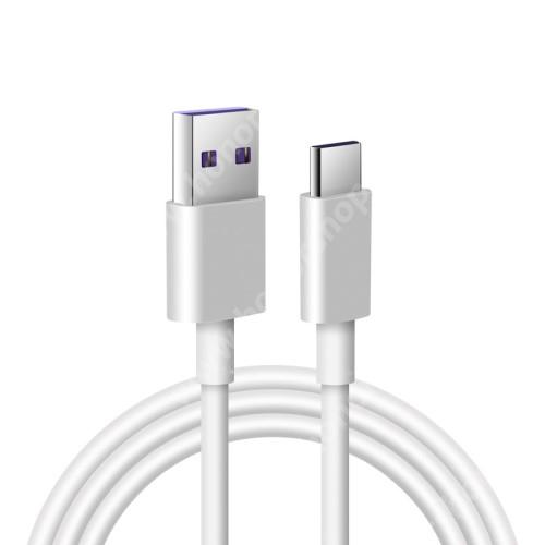 HUAWEI Honor 9 Adatatátviteli kábel / USB töltő - USB / USB Type-C, 1m hosszú, 5A (csak a gyári töltővel!) - FEHÉR